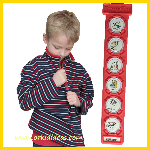 young boy next to red tag showing his morning routine