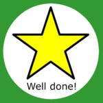 A golden star in a green box saying well done.