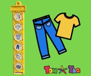 plastic yellow tag showing dressing sequence and yellow t shirt and blu jeans