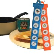 tin of heinz beans with toast, butter and 2 tomtags overlaid with symbols to make beans on toast