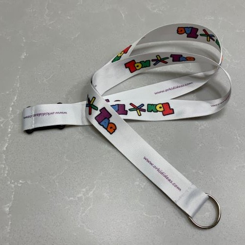 white lanyard with tomtag logo and keyring end