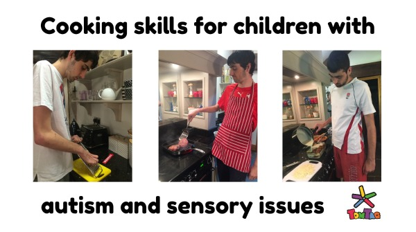 text cooking skills for children with autism and sensory issues. 2 images of Tom preparing and cooking meals