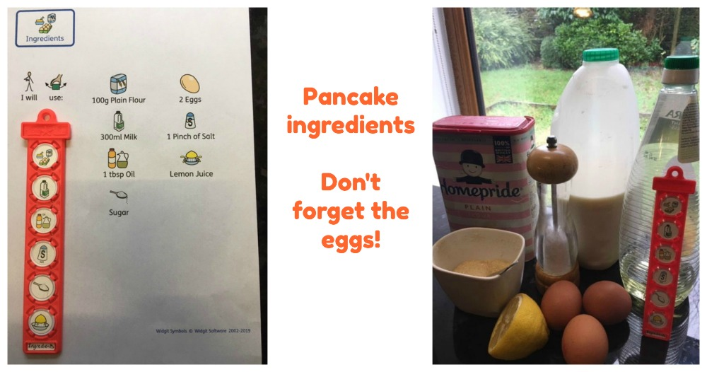 pancake ingredients listed on TomTag and items displayed