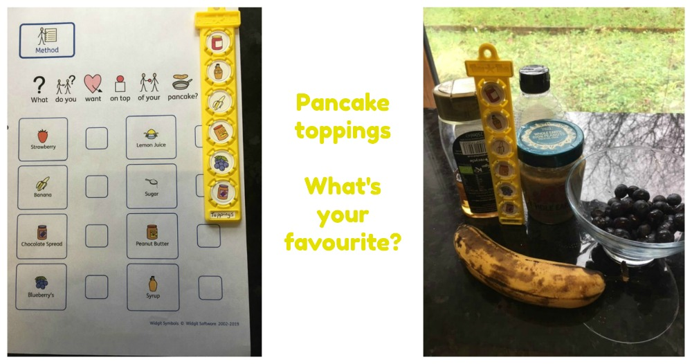 pancake toppings choices listed on TomTag and items displayed
