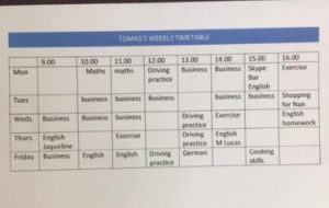 written timetable