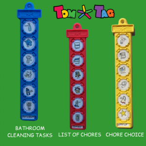 Blue, red and yellow tags showing household chores