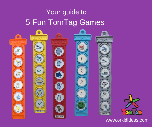 Plastic tags showing examples of games for children with autism