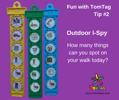 Colourful plasticm tags showing examples for an outdoor I-Spy game