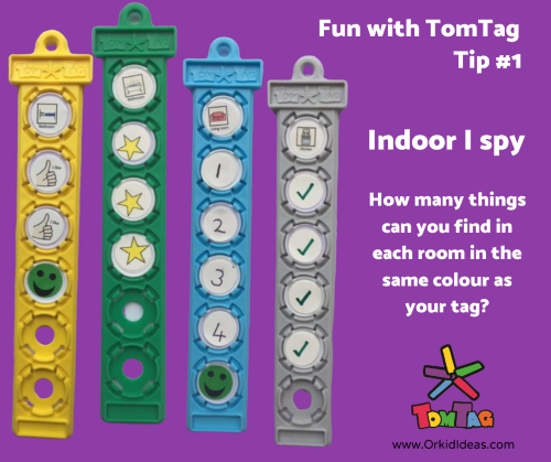Colouful plastic tags showing examples of an indoor I-Spy game