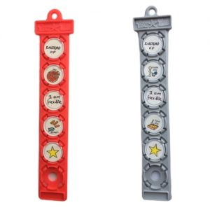 red and grey tomTag button holders showing symbols for changes to routines
