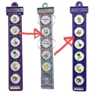 Two purple and one grey TomTag button holders showing symbols for a morning routine with a change of activity