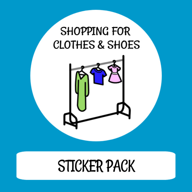 cover image sticker pack shopping for clothes and shoes
