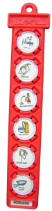 red tomtag button holder with symbols in sequence for morning routine